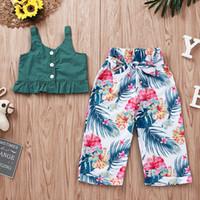 chaleco verde para niñas al por mayor-Summer Girl Set Green Girl Vest + Pants Sets para niños Moda Niños Traje Niños Conjuntos Ropa