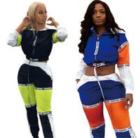 полный зеленый костюм оптовых-Костюм 2019 новый спортивный мода Женская с капюшоном короткие пиджаки сплайсинга длинные брюки костюм два кусок набор наряд GLA3068