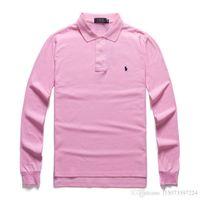 camiseta hombre pony al por mayor-Primavera / otoño de manga larga camisa de polo del potro color puro clásico camiseta ocasional de la solapa de la camisa larga de los hombres camiseta de manga 14 colores
