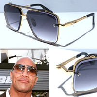 yeni stil lensler toptan satış-Yeni güneş gözlüğü erkekler tasarımcı metal vintage güneş gözlüğü moda stil kare çerçevesiz UV 400 lens ile orijinal durum