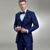 chaqueta formal azul para hombre al por mayor-Diseñador Trajes para hombre Azul real Padrinos de boda Esmoquin con muesca solapa traje de novio por encargo formal Blazers con chaqueta Chaleco
