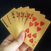 barajas de cartas magicas al por mayor-24 K Lámina de oro Juego de cartas de plástico Juego de póquer Gold Foil Poker Set Tarjeta mágica Tarjetas a prueba de agua Magia