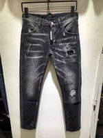 tasarım pantolonu erkek kot pantolon toptan satış-İtalyan D2 kot erkek düzenli rahat ince düz tüp kot siyah pantolon tasarımına konsantre erkek baskılı pants882