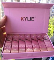Wholesale newest lipsticks resale online - Dropshipping Newest Hot Makeup Christmas edition set High Gloss colors Lip Gloss Liquid lipstick Pink Set