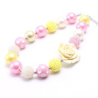 Wholesale acrylic flowers jewelry resale online - Big Rose Flower Beads Kid Chunky Necklace Fashion DIY Bubblegum Bead Chunky Necklace Children Jewelry For Toddler Girls