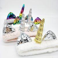 anillos de coral para mujer al por mayor-Diadema de unicornio linda con lentejuelas Fleece coral elástico Banda para el cabello que se lava para mujeres Anillo para el cabello de felpa Accesorios para el cabello para decoración navideña