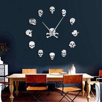 büyük duvarlar için sanat toptan satış-37 inç Kafatası Saat DIY Korku Wall Art Dev Duvar Saati Big İğne Çerçevesiz Zombi Büyük Duvar İzle Cadılar Bayramı Dekor Heads