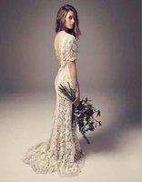 mangas vestido de boda de calidad al por mayor-2019 baratos de alta calidad de la vendimia vestidos de novia columna de la vaina sin respaldo lleno de encaje Boho vestidos de novia con la ilusión de manga corta barrido de tren