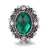 jóias snap anéis venda por atacado-Nova Chegada Noosa 18 MM Snap Botões Encantos Strass Fit Fit Pulseiras Snap Colar Brinco Jóias