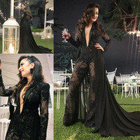 Plunging V Neckline Sexy Lace Jumpsuit Prom Dresses with Chiffon Overskirts Long Sleeves Vestidos De Festa Pant Suit Evening Party Gowns