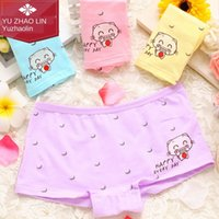Wholesale cute cat pants resale online - Yu Zhaolin piece cute cat cotton printed underwear cartoon Underwear skincare breathable girls boxer pants W