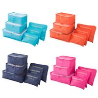 conjuntos de bolsa de equipaje al por mayor-bolsa de maquillaje viajar a casa de guarda equipaje almacenaje de la ropa Organizador cosmético portable del sujetador de la ropa interior de la bolsa 6pcs / Set MMA2643
