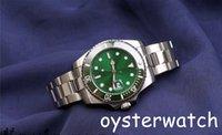 зеленая рамка автоматическая оптовых-Рождество роскошные керамические безель мужские часы механические из нержавеющей стали автоматическое движение Зеленый Спорт Self-wind часы 116610LV наручные часы