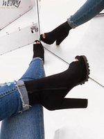 helle stiefel groihandel-Herbst / Winte Helle Farbe Stiefel Frauen 2019 Reißverschluss Schlange Muster wasserdichte Plattform hochhackigen dicken Sohlen offen Zehe Halbstiefel