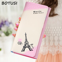 Wholesale leather stamp holder resale online - BOTUSI Paris Eiffel Tower Stamps Card Holder Leather Wallet Women Long wallet PU Leather Passport Cover Fashion Coin Bag Zipper