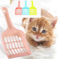 pá de limpeza venda por atacado-Mais barato plástico maca de gato scoop portátil gato limpeza pá cão Pet cocô desperdício Scooper fácil de limpar 5 cores para escolher