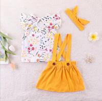 ingrosso i capretti gialli del fiore della fascia-Kids Designer Clothes Toddler Girls Summer Outfit Flower Ruffle Sleeve Tutu di bretelle giallo Vestiti di gonna con fascia Set di abiti 1-6Y