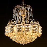 Wholesale crystal lightings resale online - European American style crystal chandeliers lights led pendant lamps hotel dinning room bedroom modern pendant chandelier lightings