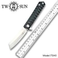 titanium rasierer großhandel-TWOSUN d2 Klinge Klappmesser Taschenmesser taktisches Messer Überlebensmesser Kugellager TC4 Titan Fast Open EDC Razor TS40