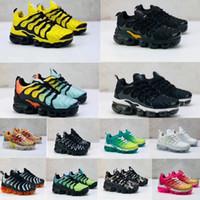 yürümeye başlayan çocuk erkek koşu ayakkabıları toptan satış-Artı Tn Bebek çocuk ayakkabıları Koşu Üçlü Siyah Yeni Doğan Bebek Bebekler Erkek Çocuklar Kız Sneakers Okulöncesi Eğitimciler