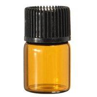 mini bouteilles d'huile essentielle achat en gros de-200pcs 2ML mini bouteille d'huile essentielle de verre ambré vide flacons d'échantillonnage vides bouteilles rechargeables marron avec bouchon réducteur