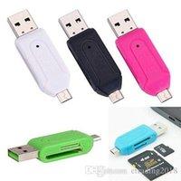 adaptador de doble ranura al por mayor-Adaptador OTG de ranura dual USB macho a micro USB 2 en 1 con lector de tarjeta de memoria TF / SD para tableta con teléfono inteligente Android Samsung