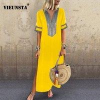 laternenstil kleid großhandel-VIEUNSTA Frauen Vintage Print Kleid 2019 Sexy V-Ausschnitt Kurzarm Split Maxi-Kleid Plus Size Casual Sommer Strand Langes Kleid Femme T190608