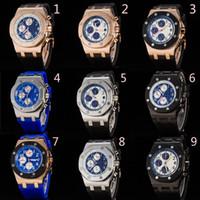 mejor cronógrafo deportivo al por mayor-Top Luxury Rubber Band Offshore Sports Reloj para hombre Cronógrafo Cronómetro Edición limitada Relojes de pulsera para hombres Mejor regalo