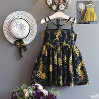 Wholesale yellow flower hat for sale - Group buy Girl Embroidered Dress Flower Sleeveless Kids Floral Cotton Baby Dresses summer girl clothes with hat home clothing Color XD21789