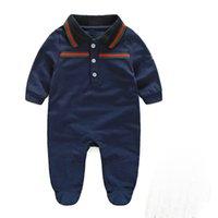 tasarımcı tulum takımı toptan satış-Sonbahar erkek bebekleri tulum tasarımcı çocuklar çizgili uzun kollu tulumlarını yaka bebek kız mektup nakış pamuk romper erkek giyim A001