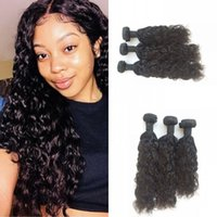 Wholesale 22inch human hair weft online - 3 Bundles of Water Wave Human Hair Weaves inch inch inch in One FDSHINE
