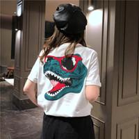 grandes redes venda por atacado-Vestido de verão coreano dinossauro roupas net vermelho de manga curta t-shirt feminino porta vento casal grande versão solta camisa