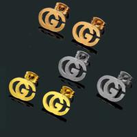 ingrosso orecchini nuovi orecchini-Nuovo arrivo all'ingrosso designer di marca lettere orecchini orecchini a bottone in oro argento g lettere orecchino per le donne uomini regalo della festa nuziale gioielli