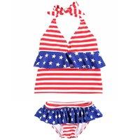 ingrosso xl flag bikini-Costume da bagno a righe per bebè Bambini Stelle Pizzo con collo a pelo Bikini Bandiera americana Independence National Day USA 4 luglio in due pezzi
