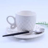 europäisches porzellan großhandel-Keramik Tasse kreative anpassbare Porzellan weißen Kaffee Frühstück Milch Tassen und Nachmittagstee Tasse europäischen Stil Geschenk Tasse