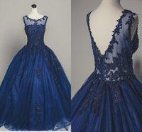 синие платья выпускного вечера 8-го сорта оптовых-2019 темно-синий органза Quinceanera платья аппликация бусины блесток V открытая спина Sheer декольте бальное платье сладкий 16 платье выпускного вечера платье 8-го класса