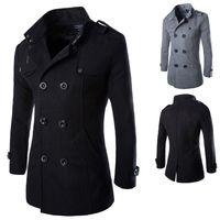 ingrosso cappotti di piselli di moda per gli uomini-Cappotto da uomo lungo in lana con collo alto in lana, collo in piuma d'oca