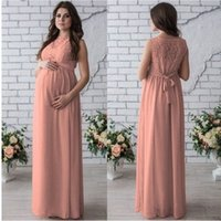Wholesale clothing for bridesmaids for sale - 2019 Women s Round Neck Sleeveless Long Maxi Dress Bridesmaid Maternity Dress Clothes For Sexy Elegant Lace Dress White Pink Wine red