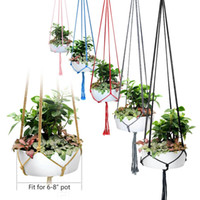 Wholesale hanger decor for sale - Group buy Handmade Colorful Macrame Plant Hangers Indoor Outdoor Flower Hanging Basket Cotton Rope Legs Balcony Pot Hanger Room Decor