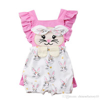 Wholesale baby rompers rabbits resale online - Easter Baby Girls Rabbit Print Rompers Cartoon Infant Bunny Jumpsuits Summer Fashion Boutique Kids Climbing Clothes