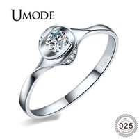ingrosso anelli di gioielli umode-UMODE di lusso reale 925 anelli in argento sterling per le donne CZ anelli di barretta di cristallo della festa nuziale gioielli moda femminile regali ULR0705