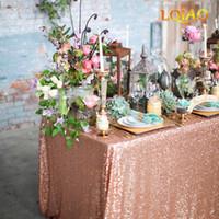 manteles de boda amarillo al por mayor-120x200cm / 120x400cm Brillo de lentejuelas mantel rectangular - Paño de tabla de lentejuelas de oro rosa para el banquete de boda decoración de Navidad Y19062103