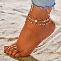 tığ işi sandalet kadın toptan satış-Yaz Kadın Halhallar Ayak Aksesuarları Plaj Kadın Barefoot Crochet Sandalet Ayak Takı Bacak Bilezik El yapımı Takı 3pcs / set