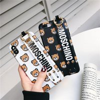 Wholesale iphone bear cases for sale – best Cute Cartoon Case for iPhone XSMax XR X bear Wrist Strap Bracket Phone Cover for iPhone S Plus Case Coque