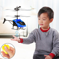 Wholesale mini helicopter batteries resale online - Flying Mini RC Infraed Induction Helicopter Aircraft Flashing Light Toys For Kid Education Toy Baby Toys Games Children