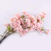 kiraz süslemeleri toptan satış-Yapay İpek Sakura Kiraz Flores Çiçeği Oriental Cherry Dekorasyon Düğün Otel Odası Parti Aksesuar İpek Çiçekler Sahte Bitki