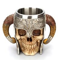ingrosso cranio di corno-Tazza di resina del corno delle pecore del corno del cranio creativo Calda di vendita dell'acqua del bicchierino dell'acciaio inossidabile 550ML del doppio di vendita calda