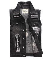 ingrosso maglia del mens del denim-Mens Punk Patches Patchwork Denim Vest Skeleton Skull Ricamo Moto Biker Gilet Slim Fit Gilet Nero Hip Hop Vest