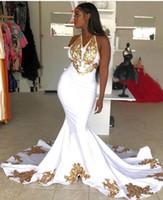 ingrosso vestiti da promenade in oro bianco nero-Sexy abito da sposa in pizzo nero oro appliqued prom dress economici halter bianco scollo a V abito da sera party formale abito da spettacolo vintage BC2178