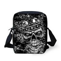 bolso cruzado cuerpo calavera al por mayor-Personalizada pequeña Skull Messenger Bags para hombre, Cool Skull Crossbody para hombre, Bolsos de hombro para niños pequeños, Bolsa de cuerpo para hombre